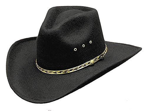 - Western Express Black Forest Pinch Front Faux Felt Cowboy Hat with Gold Band Black Color Kids Size (50) or 6 1/4