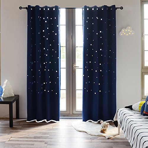 BUZIO Twinkle Star Kids Room Curtains (2 Panels) Thermal Insulated Blackout Curtains with Punched Out Stars for Space Themed Nursery and Bedroom (52 x 84 Inches, Royal Blue)