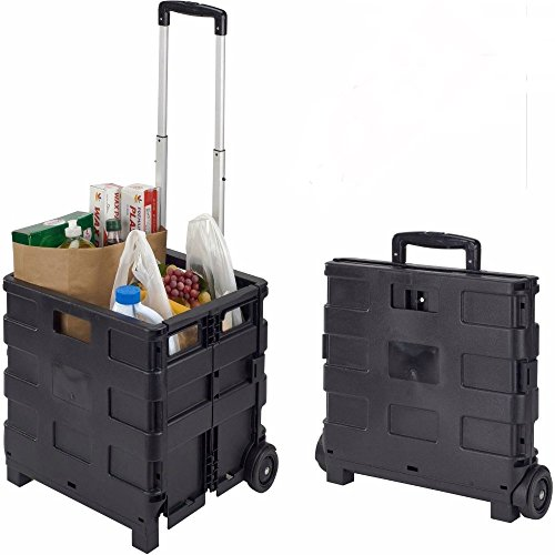 Collapsible Folding Rolling Smart Cart With Wheels For Groceries Shopping NEW ()