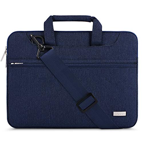 MOSISO Laptop Shoulder Bag Compatible 13-13.3 Inch MacBook Pro, MacBook Air, Notebook Computer with Back Trolley Suitcase Belt, Polyester Carrying Handbag Briefcase Sleeve Case Cover, Navy Blue