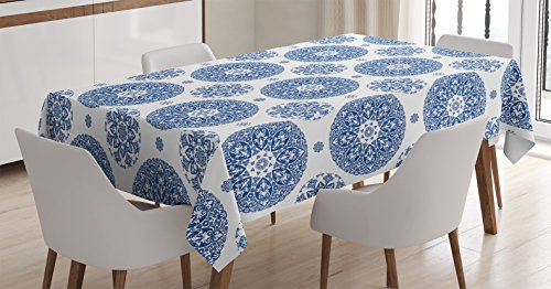 Ambesonne Vintage Tablecloth, French Country Style Floral Circular Pattern Lace Ornamental Snowflake Design Print, Rectangular Table Cover for Dining Room Kitchen Decor, 60