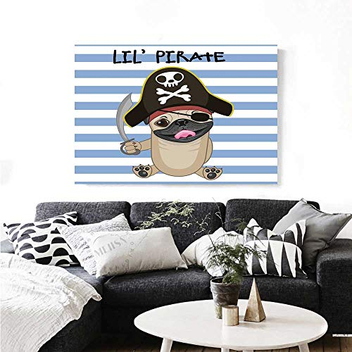 Warm Family Pirate Art-Canvas Prints Buccaneer Dog in Cartoon Style Costume Lil Pirate Striped Backdrop Funny Animal Modern Wall Art for Living Room Decoration 20