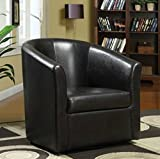Wildon Modern Barrel Chair – This Leather Upholstered Club Swivel Seat is Perfect for Your Living or Bedroom – This Accent Furniture Has Removable Seat Cushion!(Dark Brown)