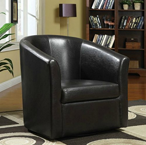 Wildon Modern Barrel Chair - This Leather Upholstered Club Swivel Seat Is Perfect for Your Living or Bedroom - This Accent Furniture Has Removable Seat Cushion - Satisfaction Guaranteed!(Dark Brown) (Chair Lounge Barrel Finish)