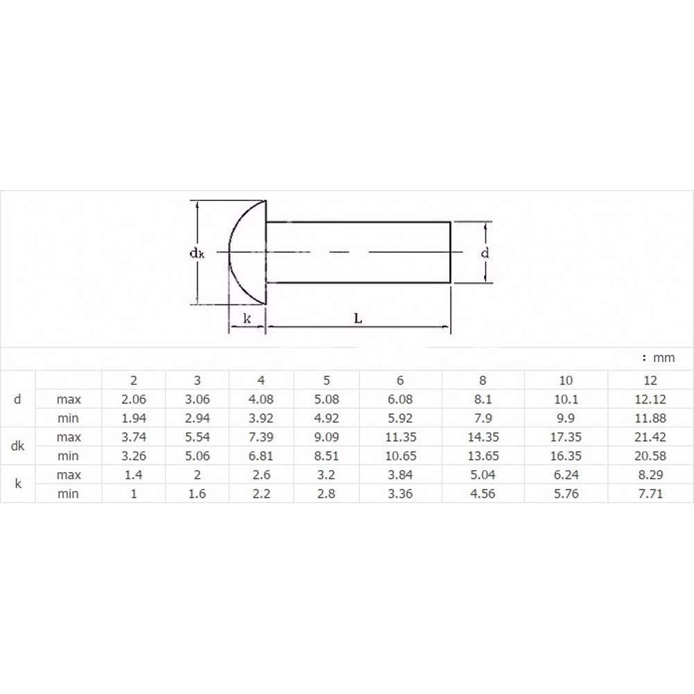 100Pcs, M3x5mm M3 M4 M5 M6 Button Pan Round Head Solid Rivet Nut Insert Aluminum