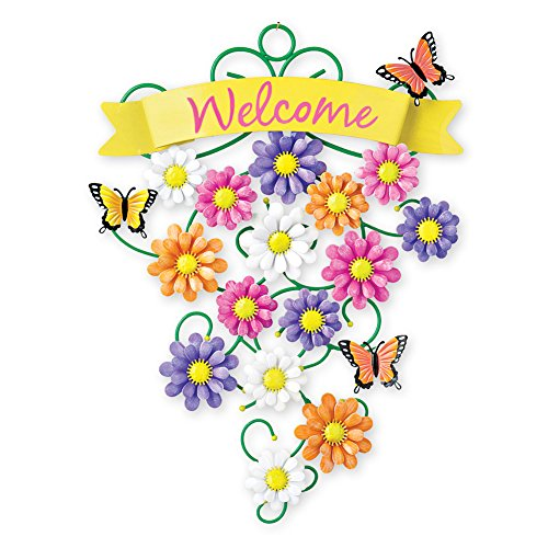 Collections Etc Colorful Welcome Spring Metal Front Door Decoration
