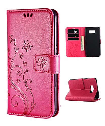 (Samsung S8 Case,Galaxy S8 Wallet Case, FLYEE Flip Case Wallet Leather [Kickstand] Emboss Butterfly Flower Folio Magnetic Protective Cover with Card Slot Rose)