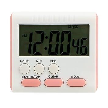 Reloj despertador con temporizador magnético y pantalla LCD digital, 12 horas de memoria, temporizador de cocina rosa: Amazon.es: Hogar