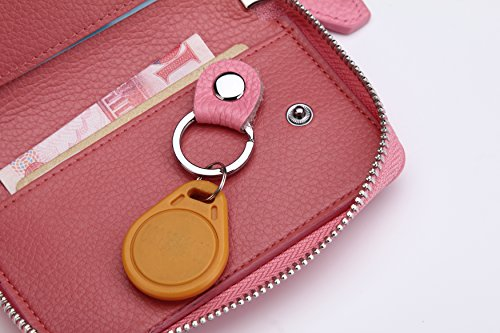 Women's Genuine Leather Zipper Key Case Car Key Holder 6 Hook Key Wallet (Pink) by ZORESS (Image #4)