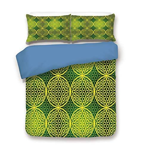Duvet Cover Set King Size, Decorative 3 Piece Bedding Set with 2 Pillow Shams,Modern Vivid Flower of Life Meditation Ancient Code Icon Illustration