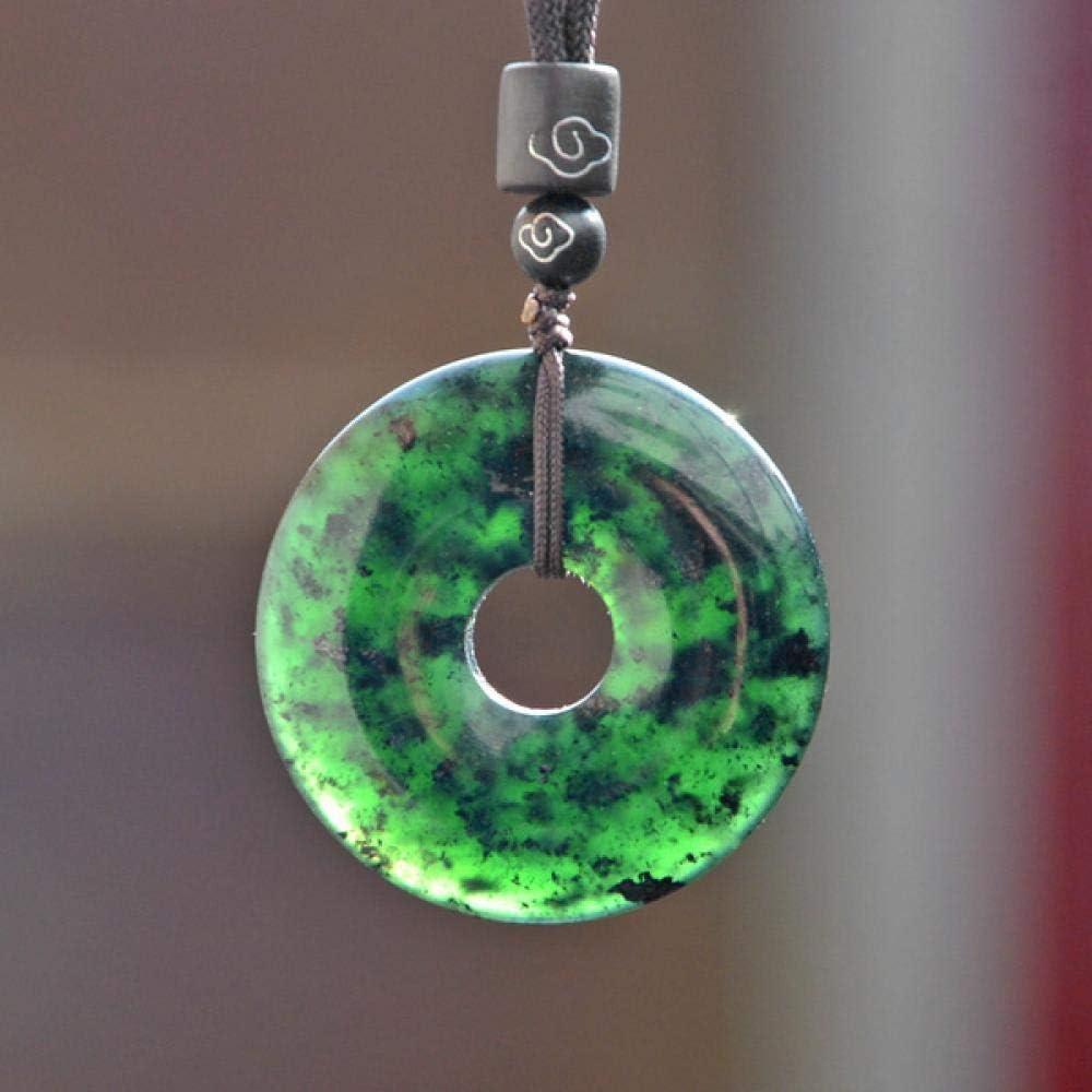 VFJLR Colgante Natural Negro Verde Hetian Stone Donut Tallado Collar Colgante de Jade Jadeíta China Joyería Amuleto Encanto Regalos para Mujeres Hombres