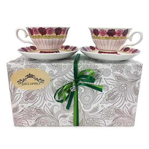 Fine Bone China English Style Pedestal Cup And Saucer Set Of Two In Gift Box (Rose Pink Stripe)
