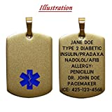 Customized Laser Engraved in the USA Medical Alert Pendant without chain - Up to 8 Lines Personalized