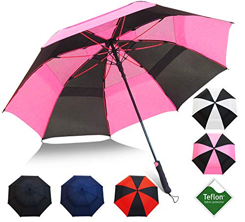 Reinforced Fiberglass Ribs - Golf Umbrella by Repel with Triple Layered Reinforced Fiberglass Ribs Adorned in Red Paint, 60