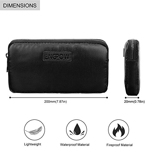 Fireproof Power Bank Carrying Case,ENGPOW Fire Resistant Organizer Accessories Bag Fire Safe Portable Charger Hard Drive Bag Travel Storage for Anker Power Bank,My Passport Essential,USB Cable by ENGPOW (Image #1)