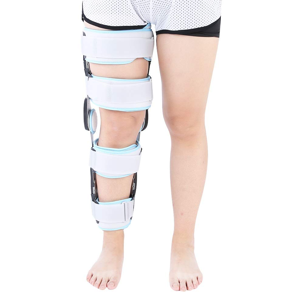 Hinged ROM Knee Brace Adjustable Surgical Fixation Stabilization Fracture Support