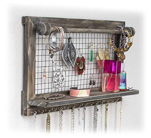 SoCal Buttercup Rustic Jewelry Organizer with Bracelet Rod Wall Mounted | Wooden Wall Mount Holder for Earrings, Necklaces, Bracelets, and Many Other Accessories