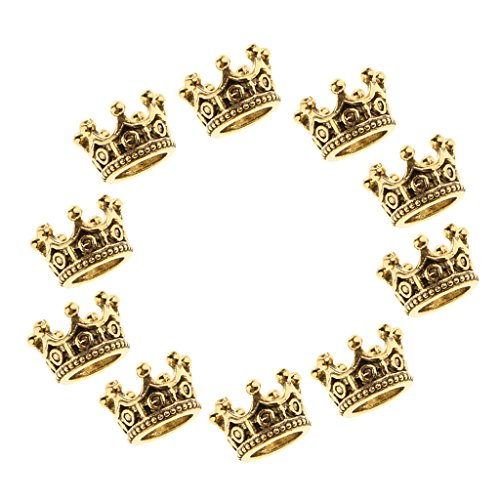 D DOLITY 10 Pieces DIY Alloy Crown Beads Wholesale 6 X11 mm Beads Supplies Big Hole Crown Charm Metal Beads Accessories Making Crafts - Gold -