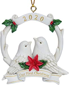 NIWUSUO Our First Christmas Together Christmas Ornament 2020 - First Christmas As Mr & Mrs 2020 Married Wedding Ornament Gift - Our 1st Christmas Ornaments (Dove Ornament)