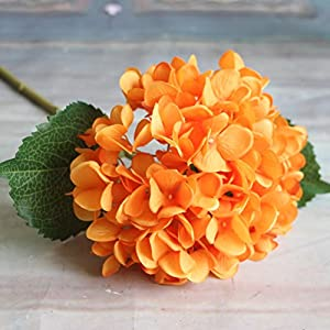 Adarl Artificial Flower Fake Flower Silk Hydrangea Flower Bouquet for Home Office Decor Party Festival Wedding Decoration(Orange,5pcs) 7