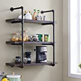 Homissue 3-Shelf Rustic Pipe Shelving Unit, 31.5-Inch Vintage Industrial Pipe Wall Shelf, Espresso-Brown Review