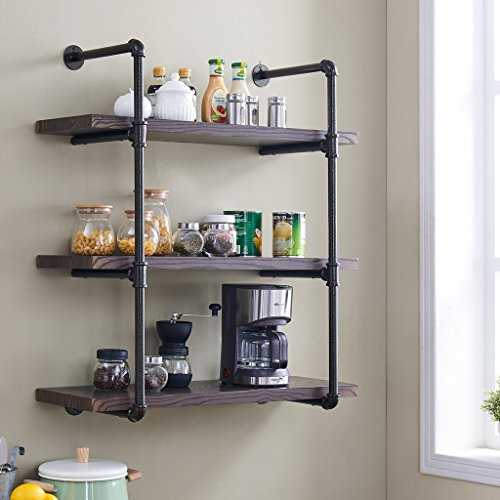 Homissue 3-Shelf Rustic Pipe Shelving Unit, 31.5-Inch Vintage Industrial Pipe Wall Shelf, Espresso-Brown