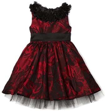 Blue Pearl Little Girls' Floral Sleeveless Jackie Dress, Red/Black, 5
