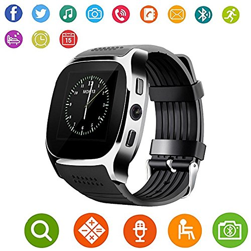 Aaliyah New T8 Smart Watches Support SIM &TF Card With Camera Sync Call Message Men Women Smartwatch Bluetooth Watch For Android (Black)