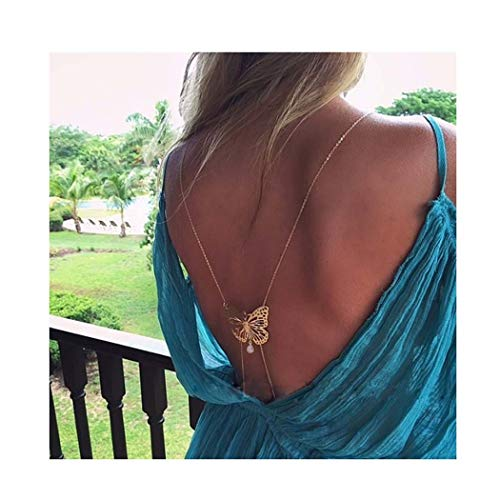 Simsly Body Chain Jewelry Crystal Waist Belly Bikini Chain Butterfly Back Chain for Women and Girls (Gold)