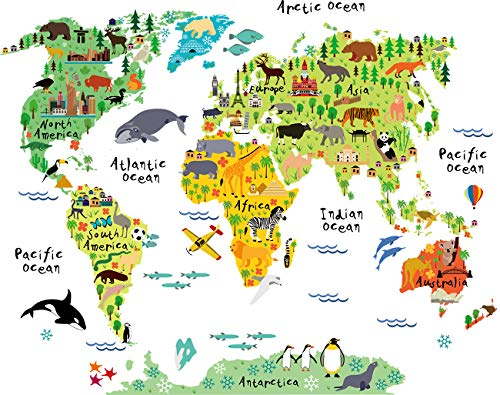 HomeEvolution Large Kids Educational Animal Landmarks World Map Peel & Stick Wall Decals Stickers Home Decor Art for Nursery]()