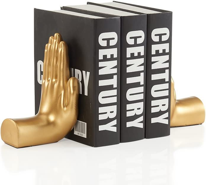 Danya B. NY8003GLD Contemporary Accent Book Shelf Decor - Hands Sculpture Bookend Set