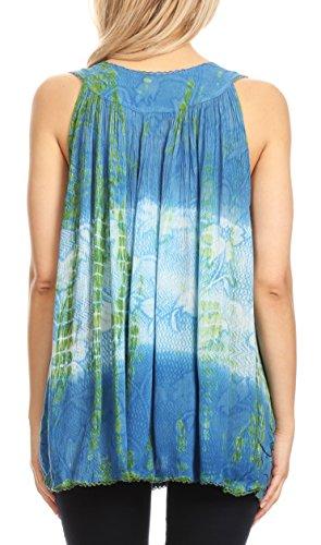 Multicolore Chemisier Crme Sakkas and Sans Bleu Dye Paillettes Manches Tie Floral nrt7rz