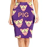 Pig With Glass Cartoon Women Slim Waist Print Long Knee Length Skirt Skirt