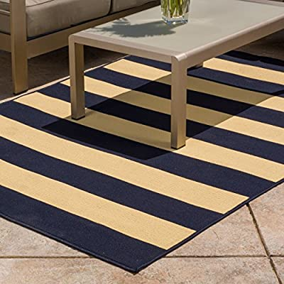 Area Rug in Navy Stripe Pattern Machine-Made Stain Resistant Roxanne Avery (8' x 10'). Contemporary, Transitional Rectangle Indoor/ Outdoor Area Rug - 298119