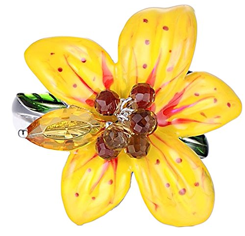 Chariot Trading - Silver Rings for Women Big Yellow Flower Ring (SIZE : 8.5) (Belly Dance Costumes Clearance)