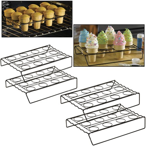 Cupcake Cone Baking Rack (Set of 4 Racks) Dishwasher Safe Non-Stick Cooking, Appliances for Home