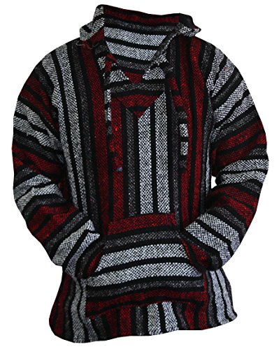 Amazoncom Del Mex Mexican Baja Hoodie Sweater Jerga Pullover Red