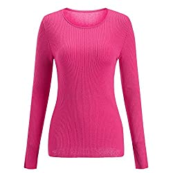 Sseary Women Crewneck Basic Lightweight Cozy Cashmere Knit Pullover Sweater Coral Red L