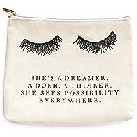Eyelash Dreamer Makeup Bag | Inspirational Romantic Bride Gift for Her Makeup Organizer Make Up Bag Canvas Bag Toiletry Bag Cosmetic Bag Travel Accessories