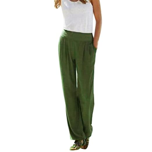 77b995eeaef Women Wide Leg Palazzo Pants Sexy Loose Casual Summer Long Trousers  Business Leggings (S