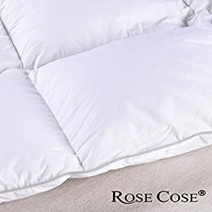 ROSECOSE Luxurious Goose Down Comforter Duvet Insert All Seasons Lightweight Solid White Hypo-allergenic 1200 Thread Count 750+ Fill Power 100% Cotton Shell Down Proof With Tabs