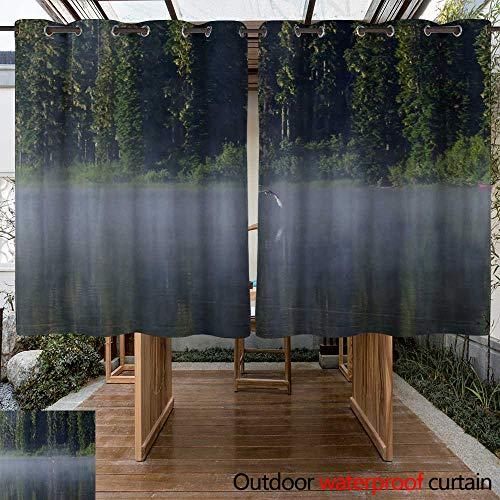 WinfreyDecor Outdoor Curtain for Patio Osprey Misty Morning Flight W96 x L72