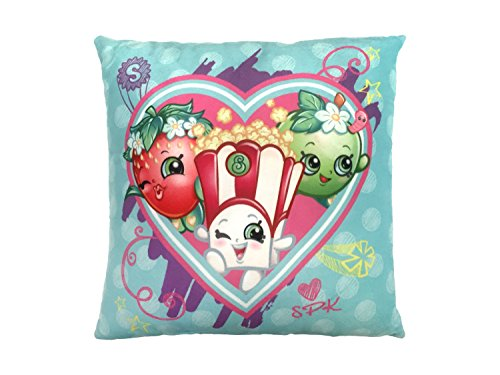 "Shopkins Heart Bursts Plush 12"" Decorative Toss/Throw Pillow with Strawberry Kiss, apple Blossom & Poppy Corn (Official Shopkins Product)"