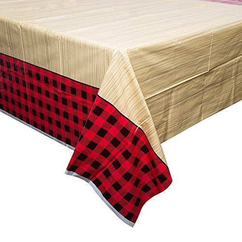 "Buffalo Plaid Lumberjack Plastic Tablecloth, 84"" x 54"""