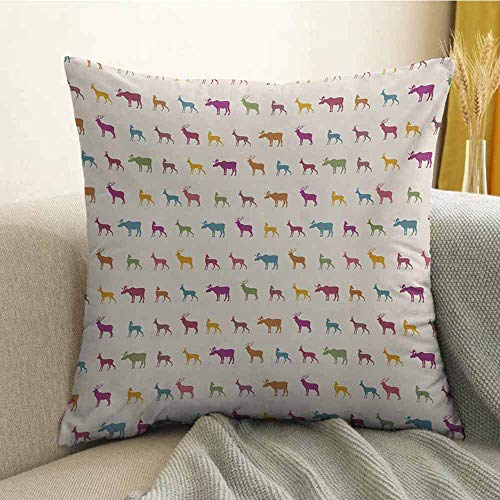 Deer Bedding Soft Pillowcase Animals with Antlers Wildlife Pattern African Inspired Colorful Creature Silhouettes Hypoallergenic Pillowcase W16 x L16 Inch Multicolor