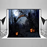 7ft(W) x5ft(H) Night Halloween Photography Background with Gate Pumpkin Lantern Graveyard Tomb Backdrops for Photographic Studio Props Cotton Cloth Halloween Background