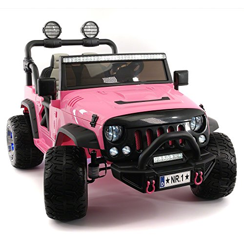 (Moderno Kids Explorer 2 (Two) Seater 12V Power Children Ride-On Car Truck with R/C Parental Remote + EVA Rubber LED Wheels + Leather Seat + MP3 Music Player Bluetooth FM Radio + LED Lights (Pink))