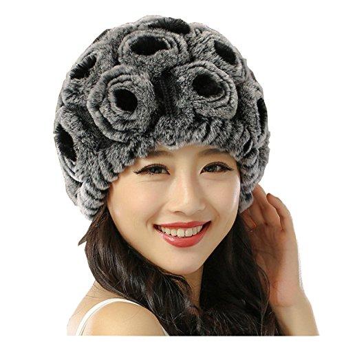 Hat Gris Flor Beanie Ahatech Warm de Winter Negro Sombrero Spring punto Pattern Bonnet BxP4dqw