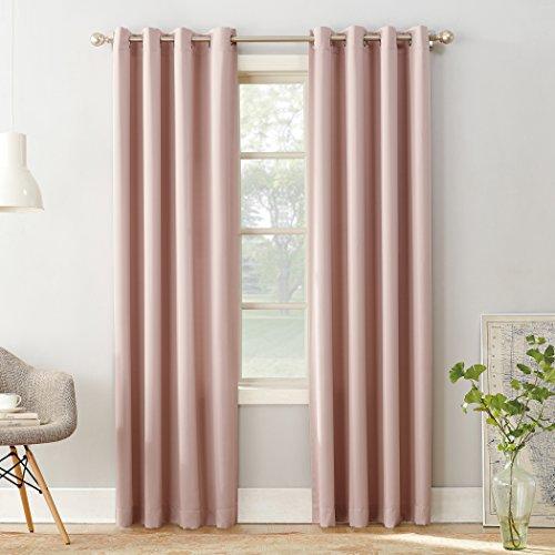 Sun Zero Barrow Energy Efficient Grommet Curtain Panel,Blush Pink,54