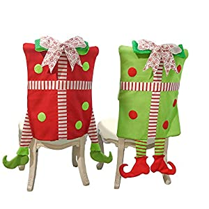 Valery Madelyn Set of 2 Joyful Christmas Chair Covers, Chair Back Covers for Dinning or Kitchen Decorations for Christmas Festival 93